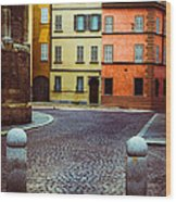 Deserted Street With Colored Houses In Parma Italy Wood Print