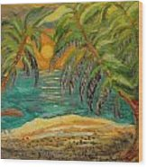 Deserted Tropical Sunset Wood Print