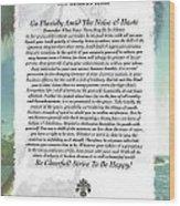 Desiderata At Palm Beach Wood Print