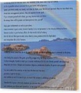 Desiderata On Beach Scene With Rainbow Wood Print