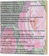 Desiderata On Garden Scene With Pink Roses Wood Print