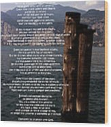 Desiderata On Lake View Wood Print