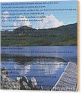 Desiderata On Pond Scene With Mountains Wood Print