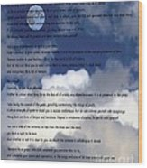 Desiderata On Sky Scene With Full Moon And Clouds Wood Print