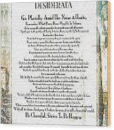 Desiderata On The Piazza Wood Print
