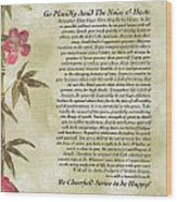 Desiderata Poem With Bamboo And Butterflies Wood Print