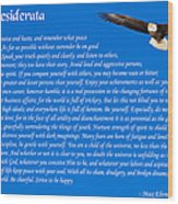 Desiderata With Bald Eagle Wood Print