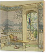 Design For A Bathroom, From Interieurs Wood Print