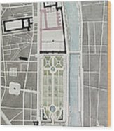 Design For Joining The Tuileries To The Louvre, 1808 Wc On Paper Wood Print