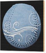 Designer Light Blue Baseball Square Wood Print