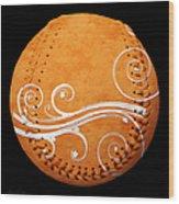 Designer Orange Baseball Square Wood Print