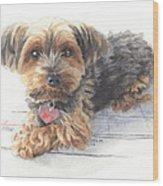 Desktop Calendar Yorky Dog Watercolor Portrait Wood Print
