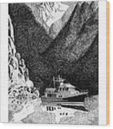 Anchored Safe Chatterbox Falls, British Columbia Inside Passage Wood Print