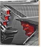 Desoto Red Tail Lights In Black And White Wood Print