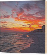 Destin Sunset Wood Print by Kay Pickens
