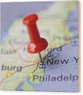 Destination To New York Wood Print