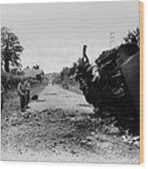 Destroyed U.s. Tank At La Wood Print