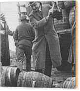 Destroying Barrels Of Beer Wood Print