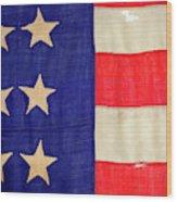 Detail Of A Civil War Flag In Drummer Wood Print