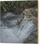 Detail Of A Small Water Fall In A Stream Wood Print