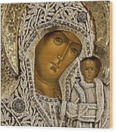 Detail Of An Icon Showing The Virgin Of Kazan By Yegor Petrov Wood Print