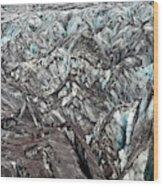 Detail Of Icelandic Glacier Wood Print