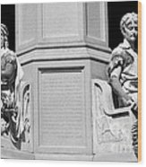 Detail Of Monument Statues - Bw Wood Print