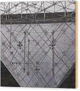 Detail Of Pei Pyramid At Louvre Paris France Wood Print