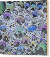 Detail Of Rainbow-colored Bubbles Wood Print