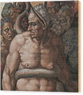 Detail Of The Last Judgment Wood Print by Michelangelo