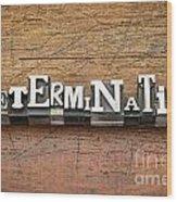Determination Word In Metal Type Wood Print