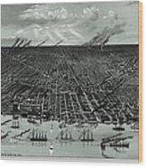 Detroit Aerial View 1889 Wood Print