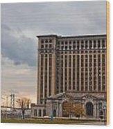Detroit Central Station And Ambassador Bridge  Wood Print