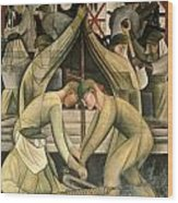 Detroit Industry  South Wall Wood Print by Diego Rivera