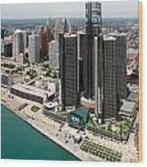 Detroit International Riverfront Wood Print