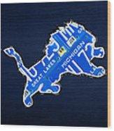 Detroit Lions Football Team Retro Logo License Plate Art Wood Print by Design Turnpike