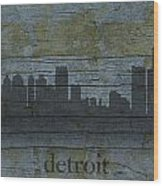 Detroit Michigan City Skyline Silhouette Distressed On Worn Peeling Wood Wood Print