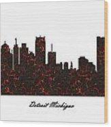 Detroit Michigan Molten Lava Skyline Wood Print