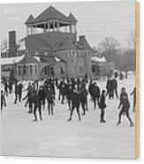 Detroit Michigan Skating At Belle Isle Wood Print by Anonymous