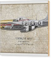 Detroit Miss P-51d Mustang - Map Background Wood Print