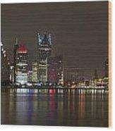 Detroit Nightime Skyline Wood Print