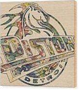 Detroit Pistons Retro Poster Wood Print