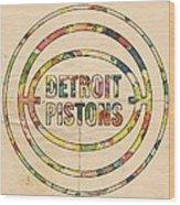Detroit Pistons Vintage Logo Wood Print