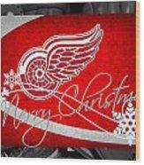 Detroit Red Wings Christmas Wood Print