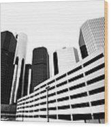 Detroit Ren Cen Wood Print