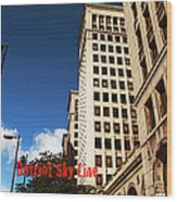 Detroit Sky Line Wood Print