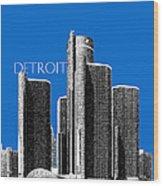 Detroit Skyline 1 - Blue Wood Print
