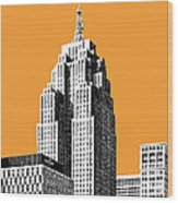 Detroit Skyline 2 - Orange Wood Print