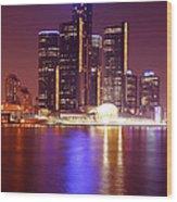 Detroit Skyline 5 Wood Print