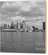 Detroit Skyline Wood Print